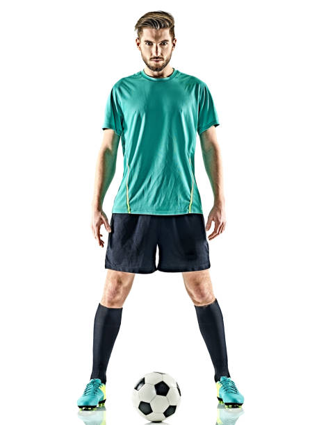 one soccer player man standing isolated white background - soccer player stock photos and pictures