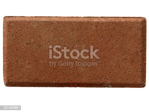 Straight on macro closeup shot of a solitary red brick used in construction and home building.  On white background.  No mortar.
