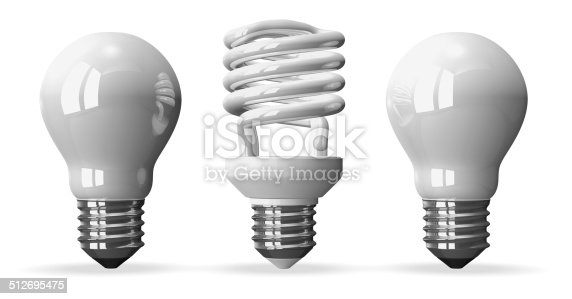 One spiral white light bulb and two tungsten ones, front view, 3d render isolated on white