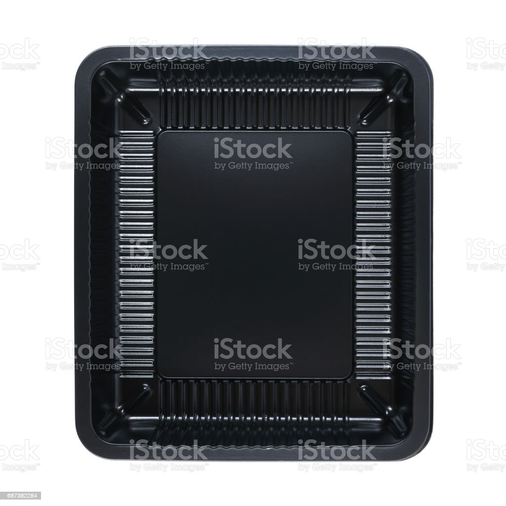 uma bandeja de comida quadrado isolada no branco - foto de acervo