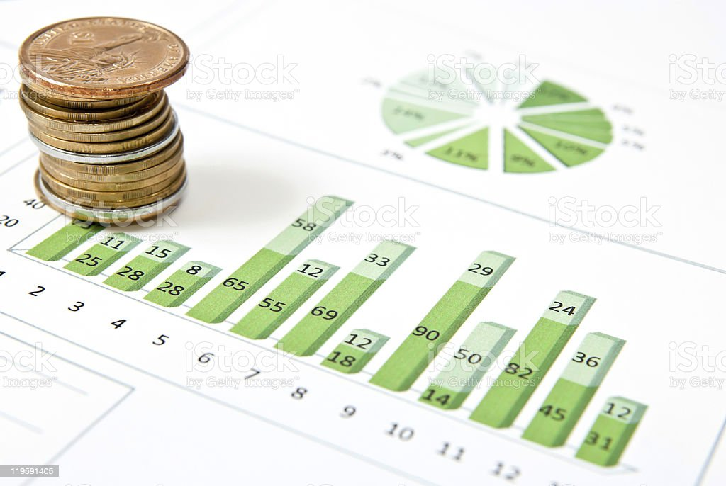 One stack of coins and green chart royalty-free stock photo