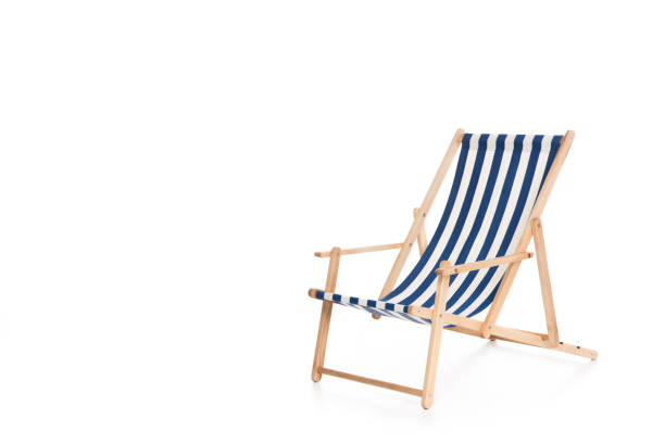one striped beach chair, isolated on white stock photo