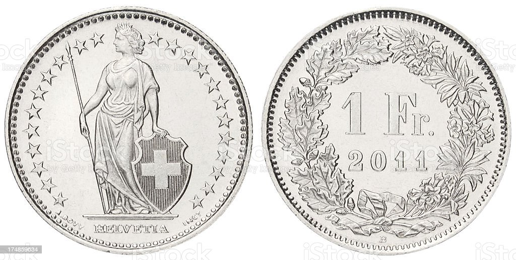 One Swiss Franc on white background stock photo