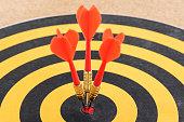 istock One target with three dart arrows hitting the bullseye 541130234