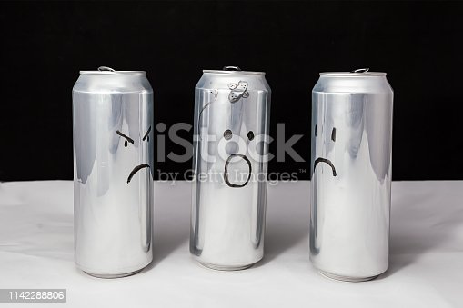 One tells others how they beat him, about incident Concept Aluminum cans. Drawn emotions. Sadness angry and indignation