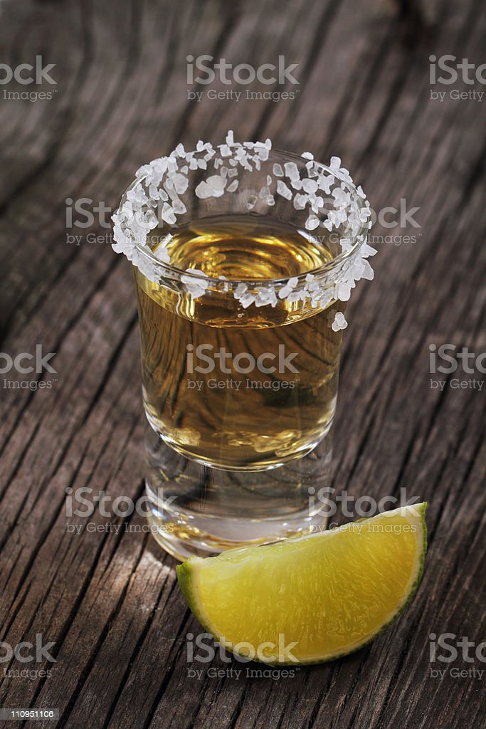 One tequila shot and lime royalty-free stock photo