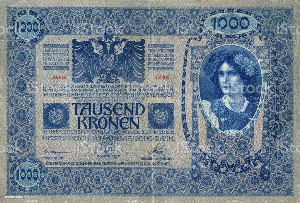 One Thousand Kronen, Antique banknote of Austria-Hungaria Empire stock photo