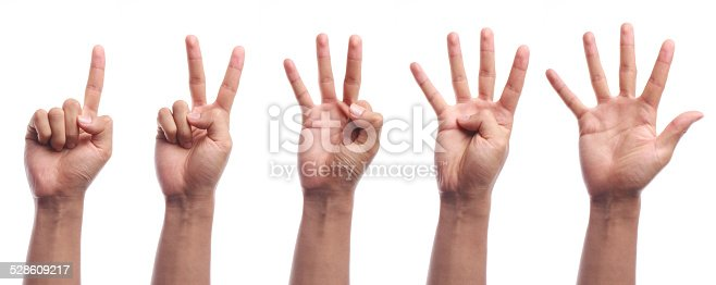 istock One to five fingers count hand gesture isolated 528609217