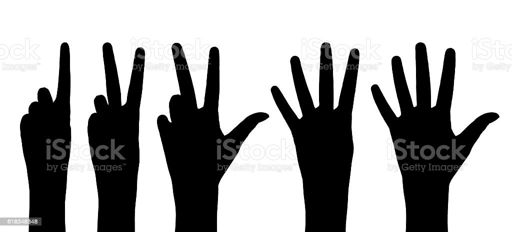 One to five fingers count signs isolated over white background stock photo