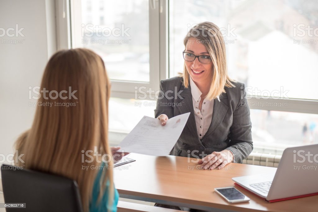 One to One Business Meeting-Financial adviser with a client stock photo