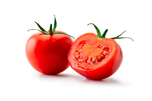 Tomato isolated. Tomato on white background. With clipping path. Full depth of field.