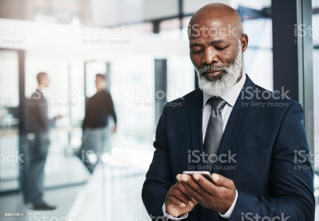 One touch connects me to thousands of possible clients stock photo