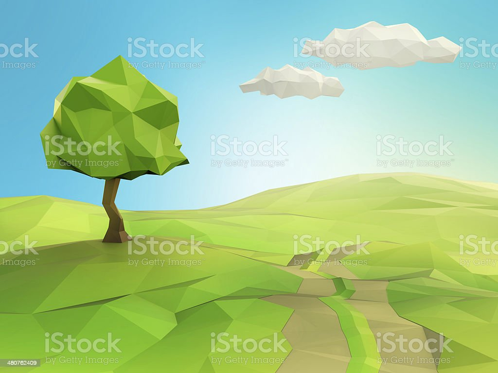 One tree on a grass field illustration stock photo