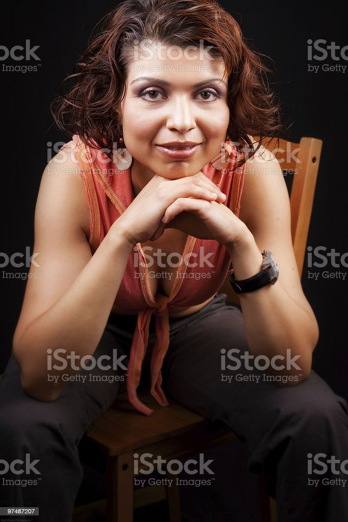 One trendy middle aged woman in studio royalty-free stock photo