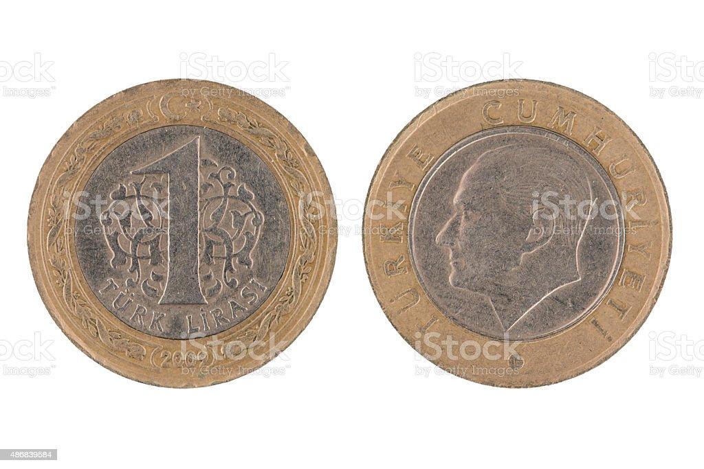 One Turkish lira coin stock photo