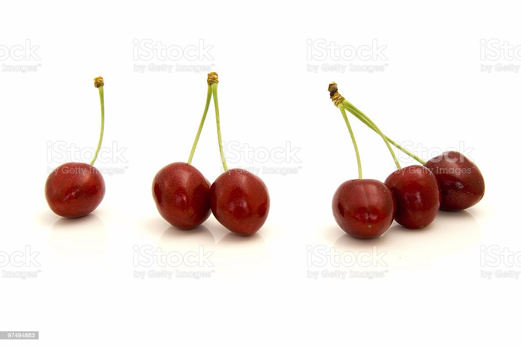 one, two and three cherries royalty-free stock photo