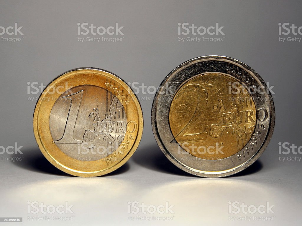 One & Two Euro Coins royalty-free stock photo