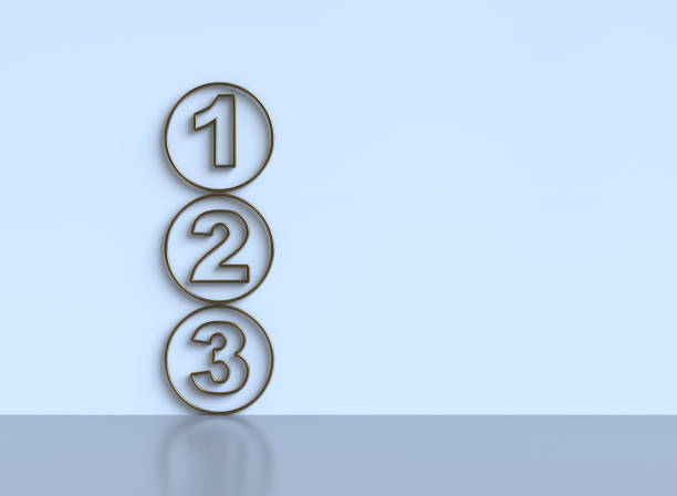 One two three - 3d progress steps One two three - 3d progress steps single object stock pictures, royalty-free photos & images