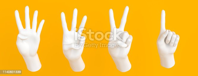 istock One, two, three, four fingers hand gesture, number 1, 2, 3, 4 arm sculptures isolated on yellow, 3d rendering, 1140831339