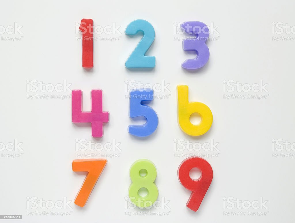 One, two, three, four, five, six, seven, eight, and nine stock photo