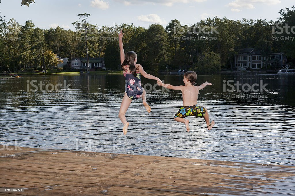 One, two, three, jump! stock photo