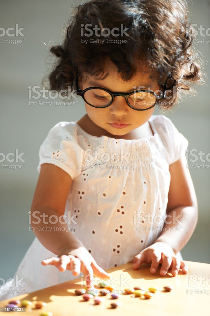 One, two, three...learning to count with some sweet motivation! royalty-free stock photo