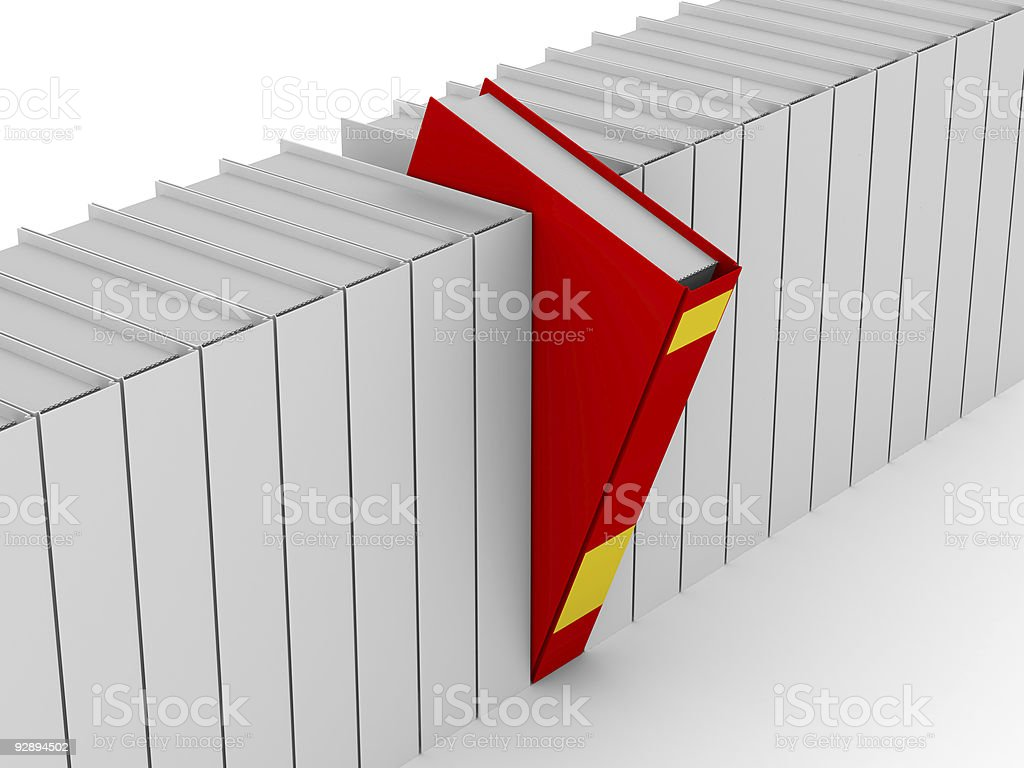 One unique red book. Isolated 3D image royalty-free stock photo