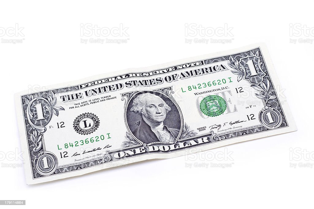 One US Dollar Banknote stock photo