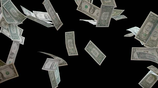 one us dollar note - money black background stock photos and pictures