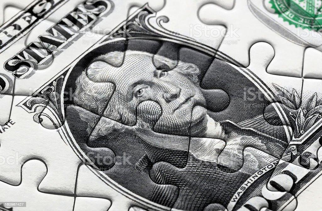 One us dollar puzzle royalty-free stock photo