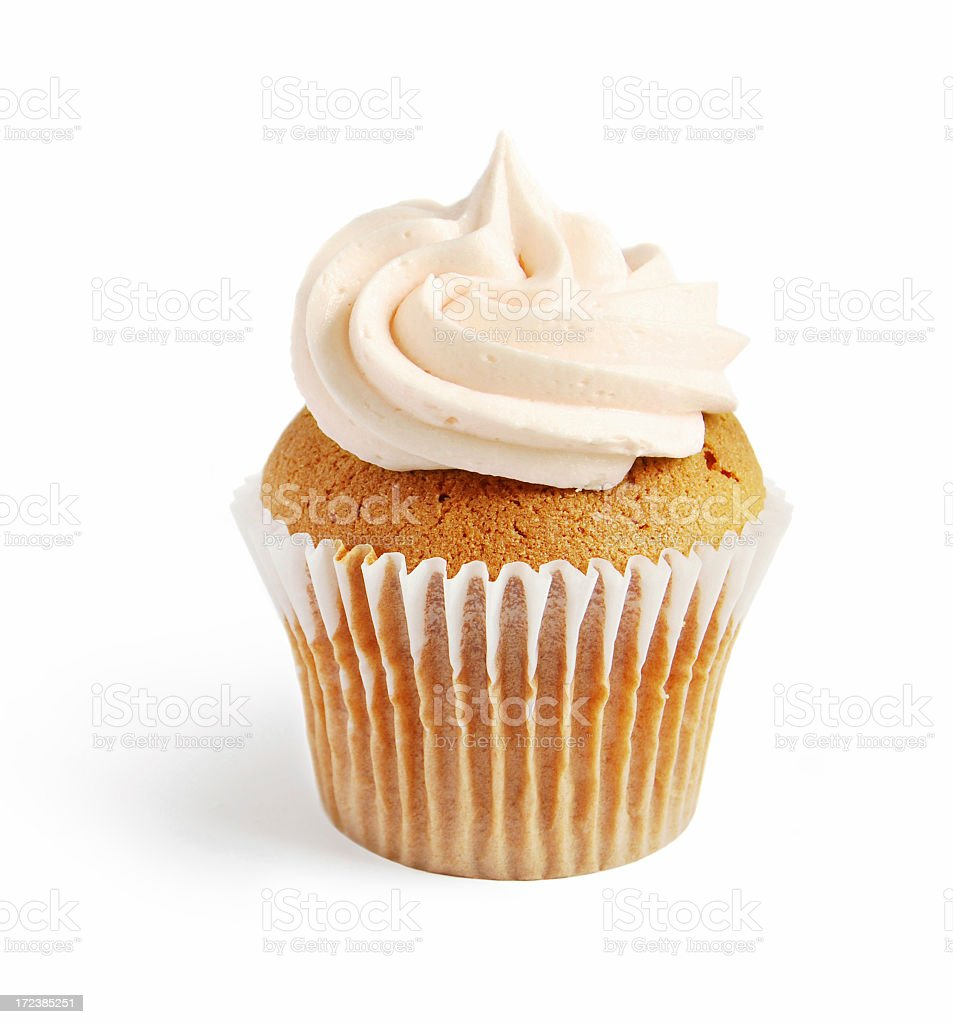 One vanilla cupcake with buttercream icing stock photo