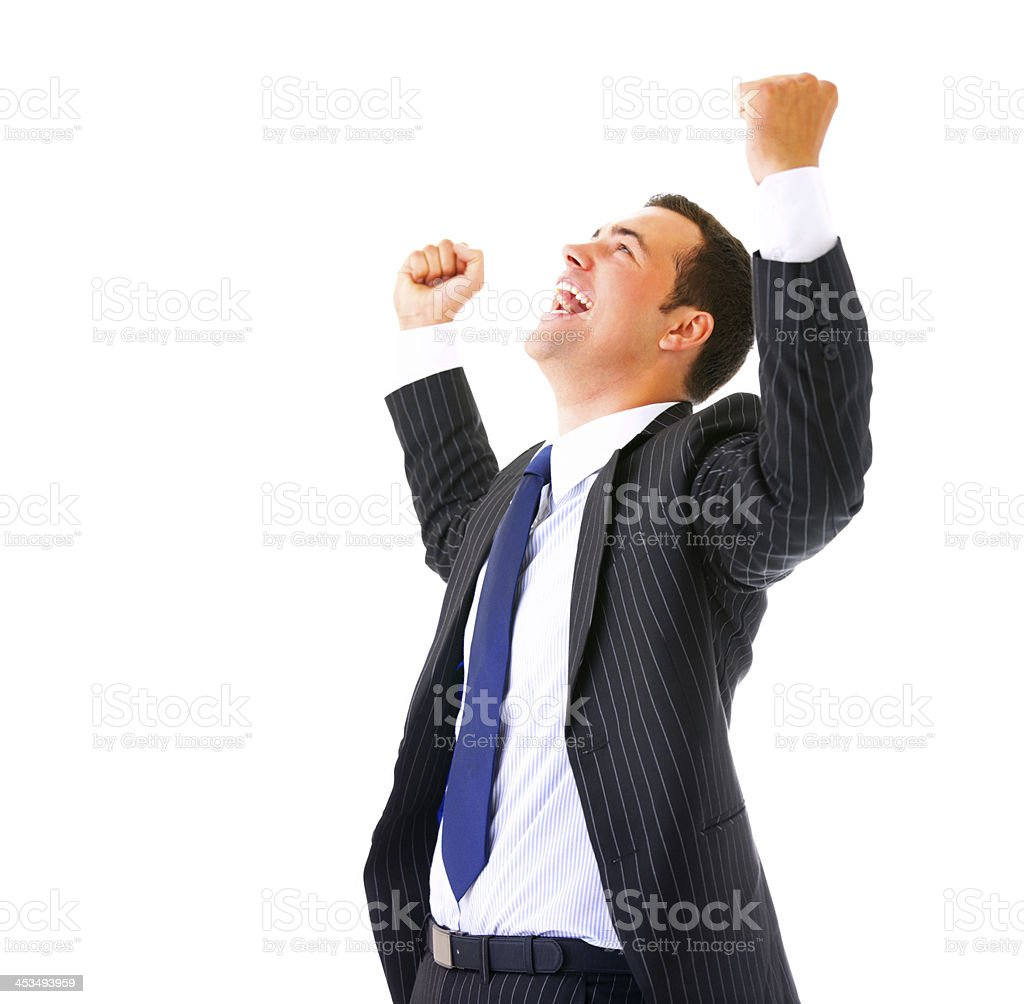 One very happy businessman royalty-free stock photo