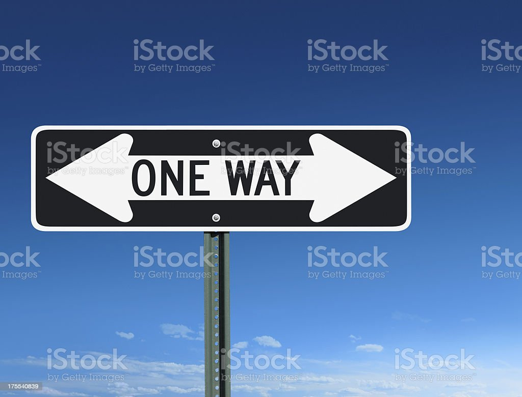 One Way Confusion Sign With Left & Right Arrows stock photo