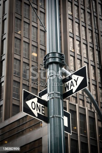 954712506istockphoto One Way for two directions. 136362899