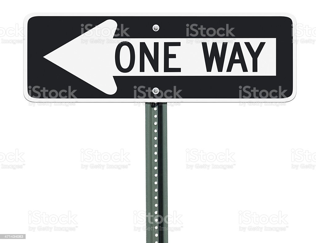 One Way Left Sign Isolated stock photo