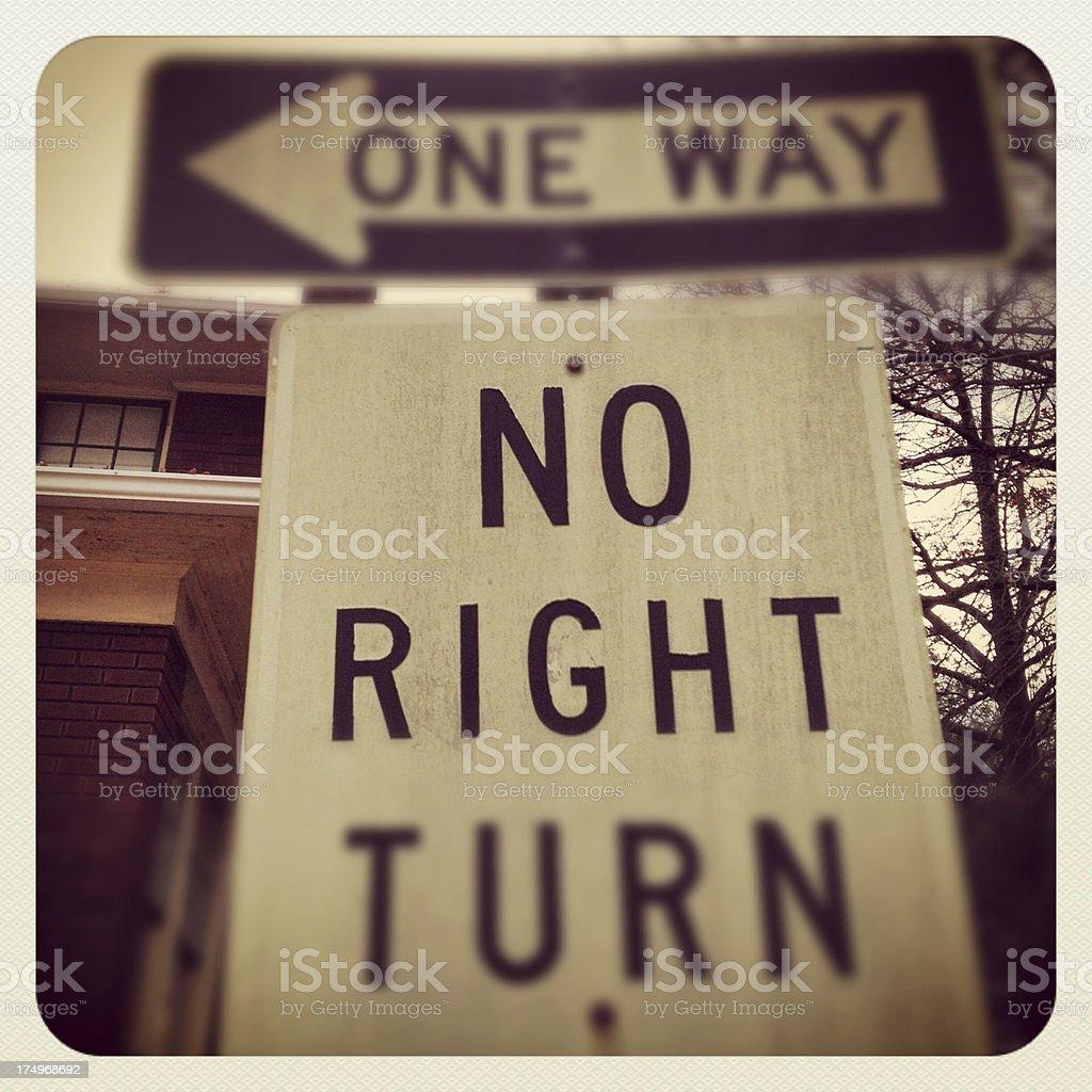 One Way No Right Turn royalty-free stock photo