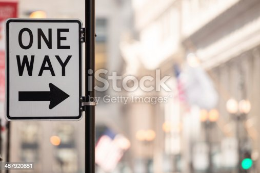 One way sign with copy-space.