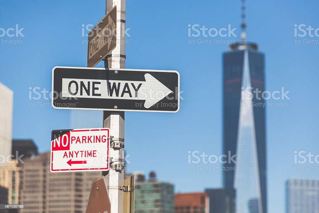 One way road sign in New York stock photo