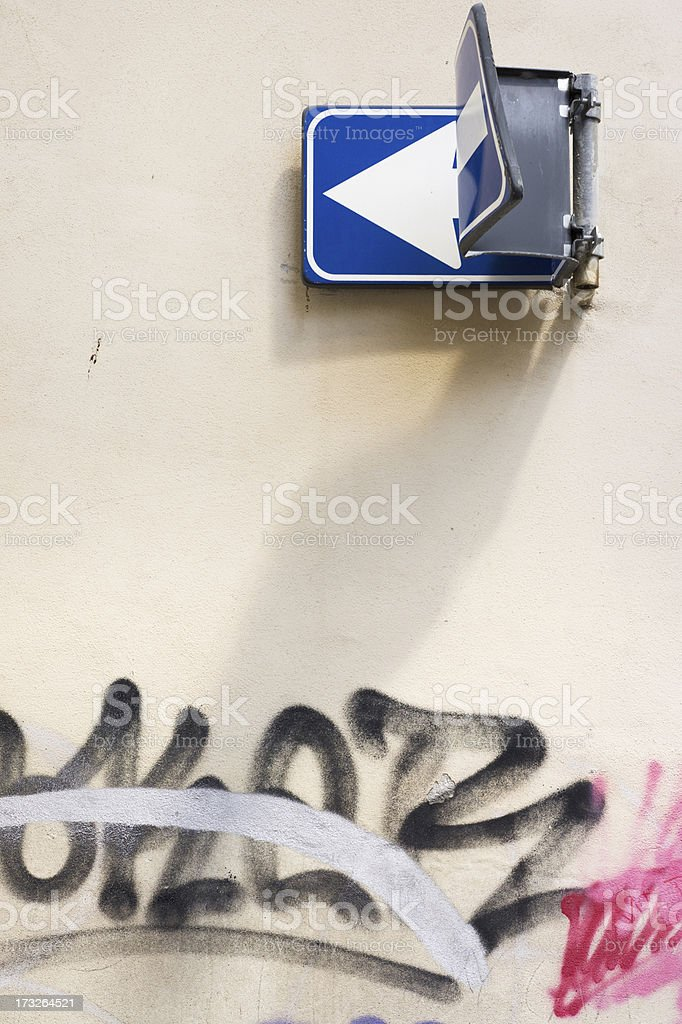 One way sign, bent royalty-free stock photo