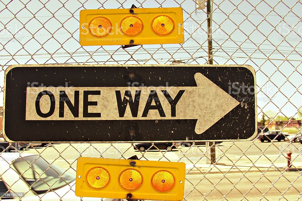 One way sign in urban jungle royalty-free stock photo