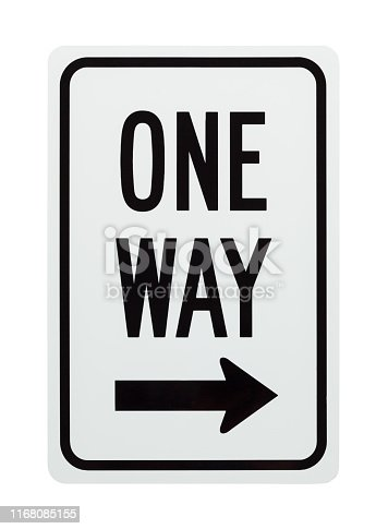 One Way Street Sign Isolated on White Background.
