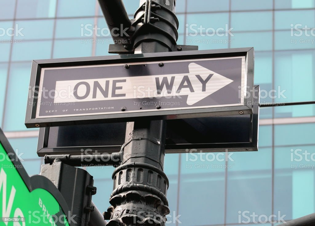 One Way street sign in downtown Manhattan, New York. stock photo