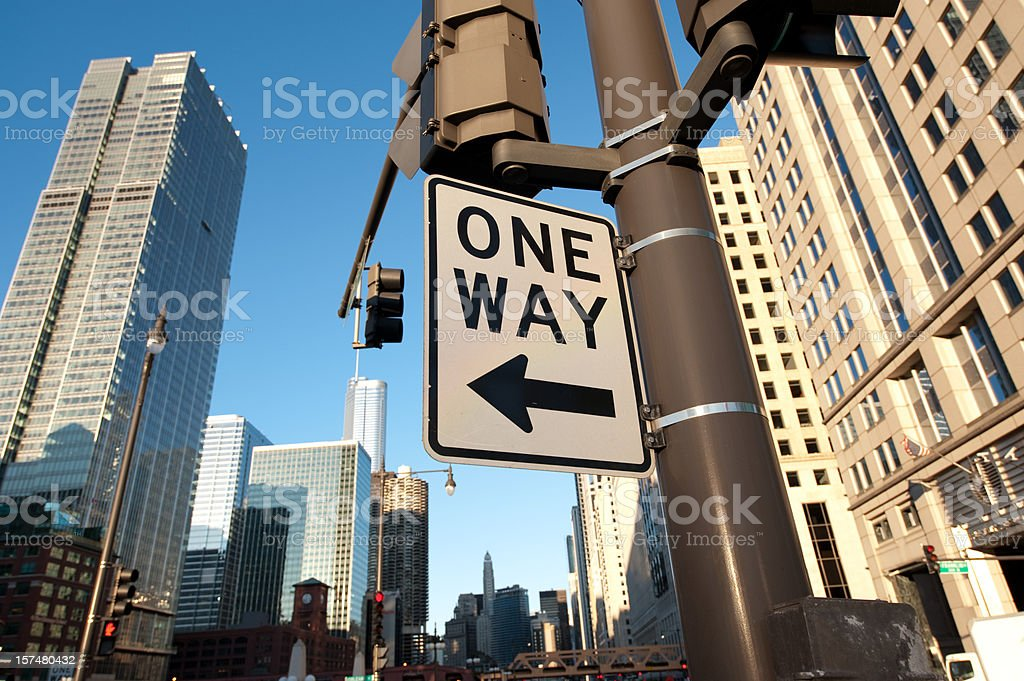 One Way Street Sign in the Downtown Chicago Loop royalty-free stock photo