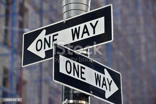 One way street sign n Manhattan, New York City, USA
