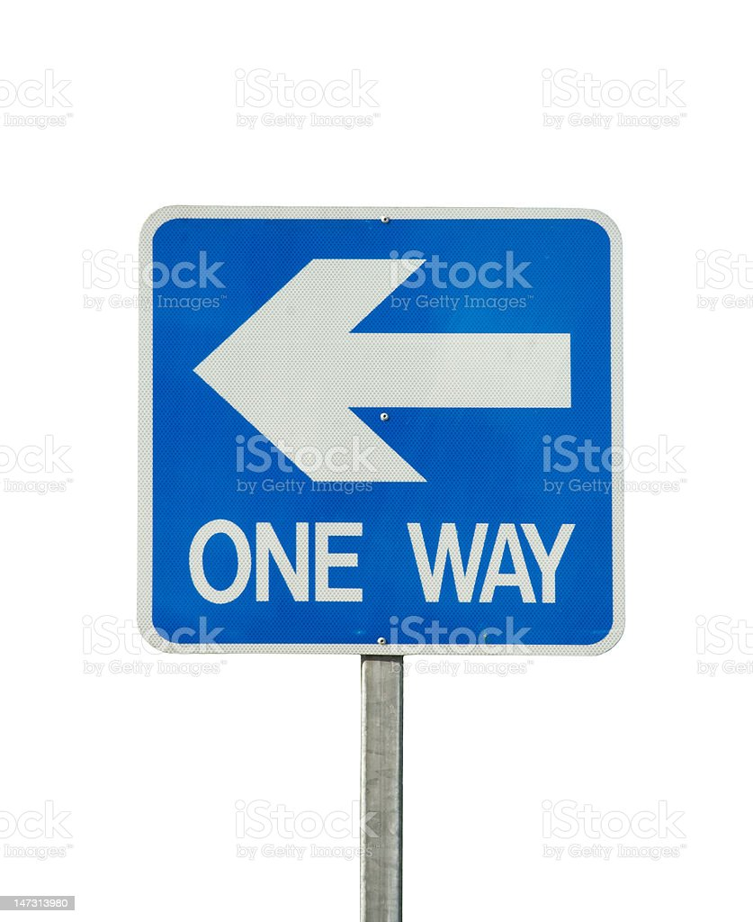 one way traffic sign isolated royalty-free stock photo