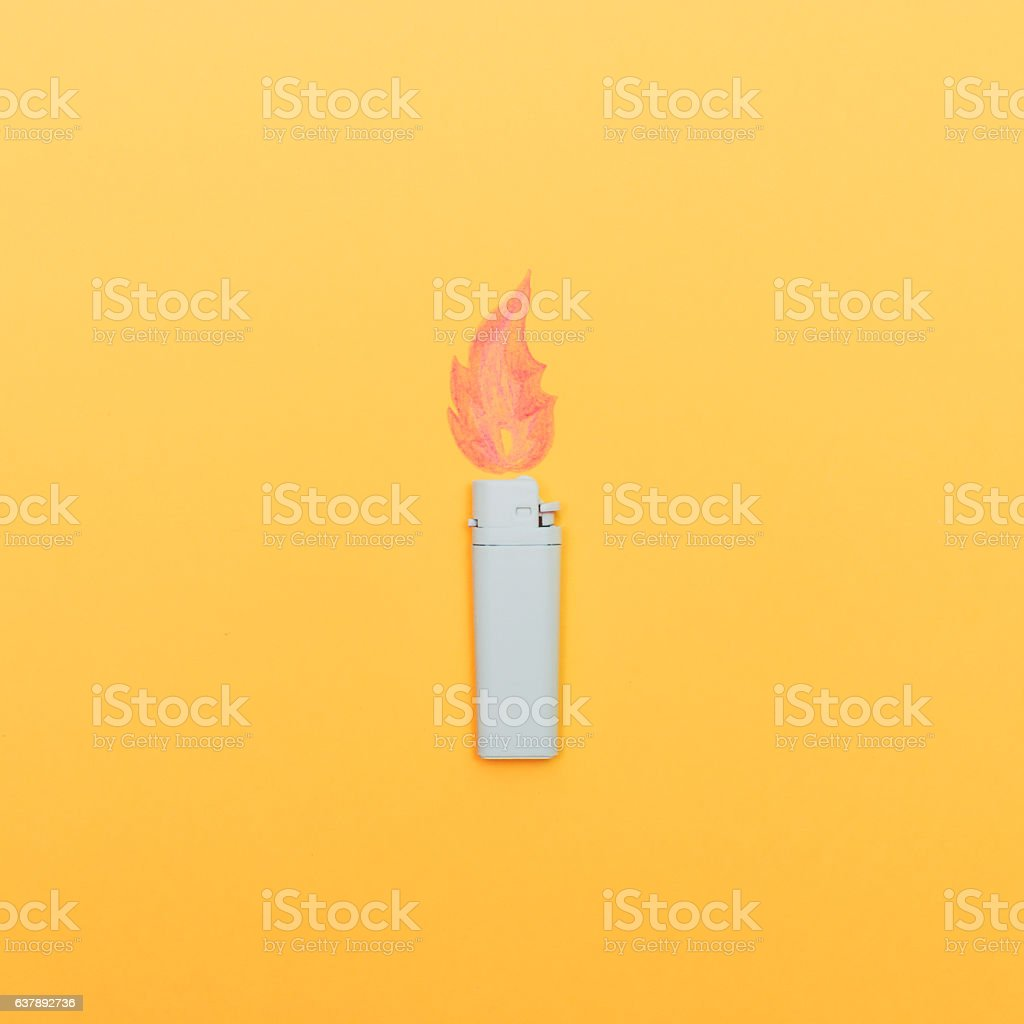one white lighter with flame stock photo