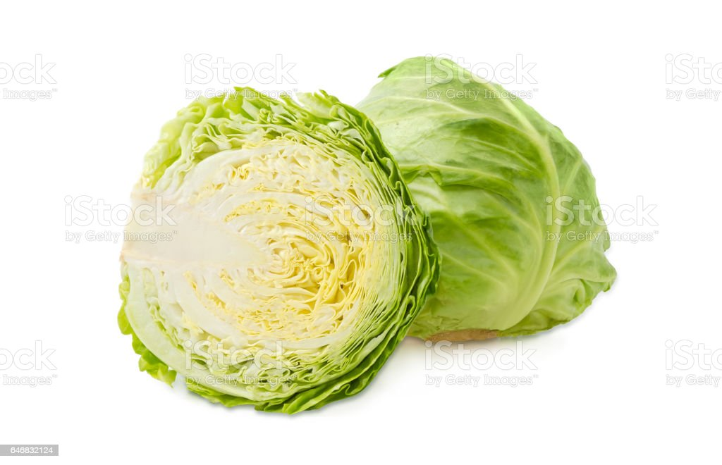 One whole and one half of the heads of cabbage stock photo