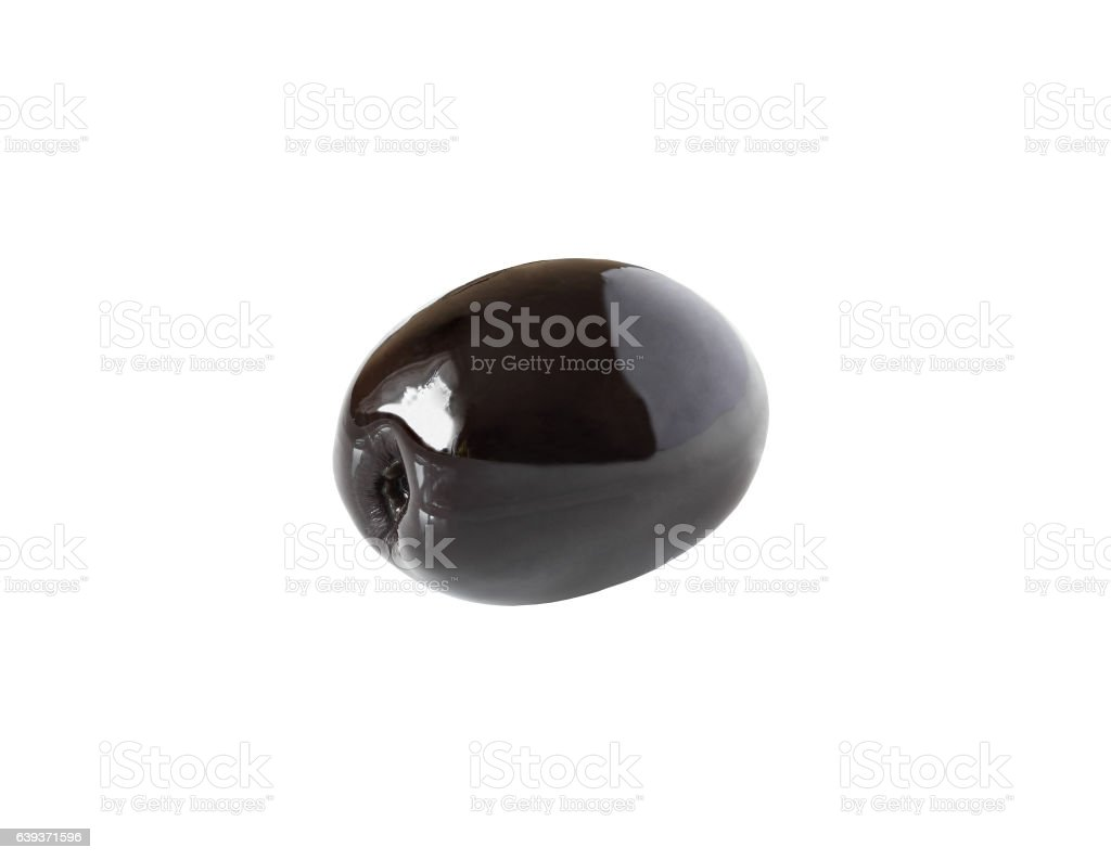one whole black olive isolated on white with clipping path stock photo