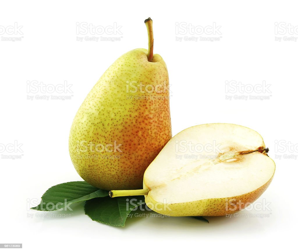 One whole pear and half a pear royalty-free stock photo