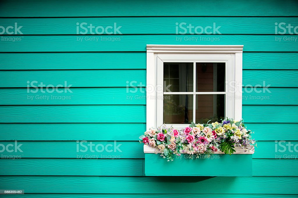 One window of wooden house stock photo